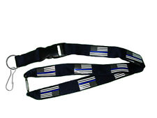 """32"""" USA American Police Thin Blue Line Lanyard With Detachable Key Ring & Clip"""