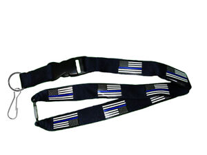 "32"" USA American Police Thin Blue Line Lanyard With Detachable Key Ring & Clip"