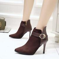 Womens Ankle Boots Stilettos High Heels Pointed Toe Side Zipper Casual Shoes New