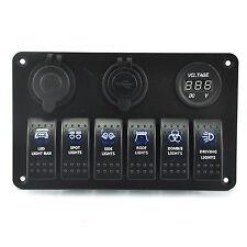 Generic Marine/Boat Car 6 Gang Switch Panel Light 5 Pin On/Off Rocker Switch USB