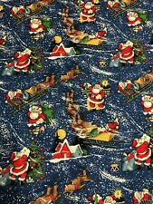 Alexander Henry 2012 Christmas Eve Santa Scenes with Snow on Blue Fabric BTHY
