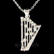 Irish Bridal musical Instrument Necklace Celtic Harp made with Swarovski Crystal