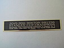 Boston Bruins 2010-11 Stanley Cup Nameplate For A Signed Hockey Stick Case 1.5X6