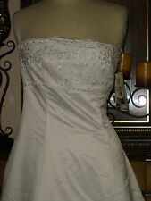 New Embroidered Low Price Jessica McClintock White Wedding Dress Strapless 8