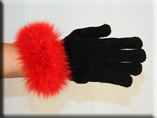 New Black Chenille Gloves Red Fox Fur Trim - Efurs4less