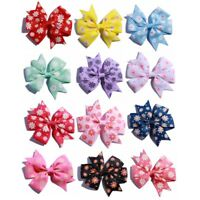 30PCS 8CM Pinwheel Hair Bow Grosgrain Ribbon Boutique With Flower Dot NO Clip