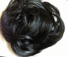 Hair scrunchie for bun or ponytail Large Black Hair Bun pony Extension