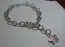 BRAND NEW STERLING SILVER GENUINE DIAMOND STAR CHARM BRACELET