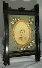 "Antique Victorian Large 14"" Carved Wood Standing Easel Photo Picture Frame WOW"