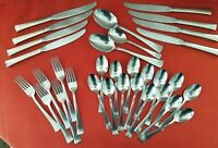 32 pcs Wallace SONNET Satin Stainless Flatware Lot Forks Spoons Knives VINTAGE