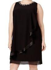 SLNY NEW Black Women's Plus Sheath Overlay Embellish Dress  Size 22W