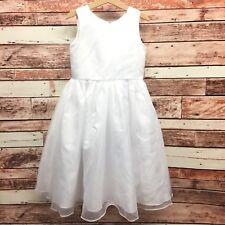 Tip Top Kids Girl's White Sleeveless Flower Girl or First Communion Dress. Sz 6.