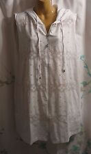 NWT Chelsea Taylor 1X Beach Swimsuit Coverup Sleeveless White Mesh Hooded