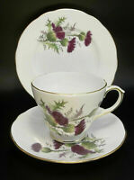 Duchess Tea Cup Saucer Set Bone China Purple Thistle Flower Trio