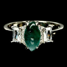 NATURAL BLUISH GREEN GRANDIDIERITE & WHITE CZ 925 STERLING SILVER RING SZ 7.75