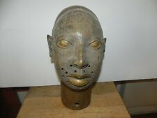 "Arts of Africa - Oba Head - Bronze - Nigeria - Benin - 16"" x 10"" x 8"""