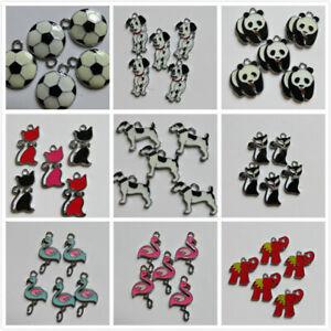 5 - 20 SP Charms Enamel 9 Designs Dog/Cat/Panda,etc. 25-30mm Jewellery Making