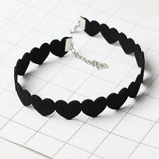 Woman Punk Black HEART Velvet Choker Chunky Collar Pendant Necklace Jewellery
