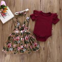 Baby Girl Dress with Headband Ruffles T-shirt Top Flower Print Dress Skirts Set