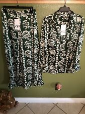 Zara Green Floral Gem Button Long Sleeve Top And Ruffle Pants Sets