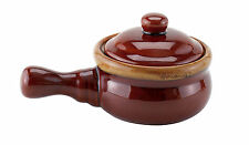 4 Set Individual French Onion Soup Crock w/ Handles Lids Ceramic Stoneware Brown