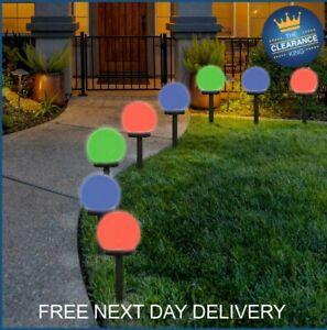4X Solar Round Ball Globe LED Garden Ground Lights Stake Lighting Multicolour