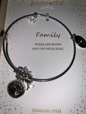 """FootNOTES Stainless Steel Heart Key"""" Family"""" Expandable Silver Bracelet $60"""
