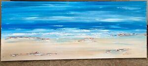 SEASCAPE ART CONTEMPORARY ORIGINAL ABSTRACT MODERN PAINTING 100x40cm canvas