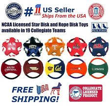 NCAA Star Disk PET Toy - Dog Rope Fly Toy - Licensed Flying toys with Squeakers!