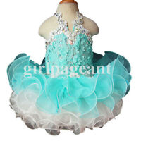 blue Infant/toddler/baby/children beading Pageant Dress 040-2 with hairbow