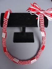 Hawaiian Ribbon Square Weave Graduation Lei Red White