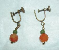 Vintage Faceted Carnelian Green Jade Bead Dangle Screw Back Earrings 3.3 cm