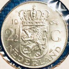 1964 Netherlands SILVER 2.5 Guilders KM-185 Near-GEM BU UNC HOLLAND ROUND BEAUTY
