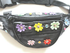 100% Genuine Black Leather Bum Bag. Multi Coloured Daisy Flowers & Crystal Studs