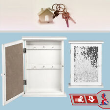 6 Key Storage Box Key Holder White Wood Sequin Design Hanging Hook Wall Mount