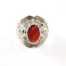 Vintage Sterling Silver Orange Amber Wide Estate Ring Size 10 VK