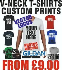 Personalise T shirt Printed V Neck Custom Men Stag Do Work Text Photo Printing
