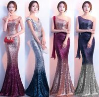 Women Off Shoulder Sequins Mermaid Dress Wedding Long Dresses Evening Prom Gown