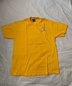 Star Trek Yellow T SHIRT CAPTAIN KIRK COMMAND UNIFORM Men's Sz L