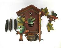 VINTAGE WEST GERMAN BLACK FOREST CUCKOO CLOCK FOR PARTS OR REPAIR
