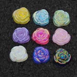 60PCS 15mm Acrylic Flatback Rose Flower Appliques for Phone/wedding/craft DIY