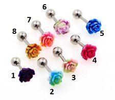 2Tone Acrylic Rose Tragus Bar Helix Rings Conch Rook Bars Ear cartilage piercing