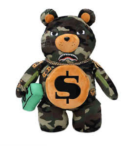 Sprayground Money Bear Camo Tattoo Backpack with Gold Chain NEW