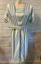 Vintage 1960's Leslie Faye Blue and White Cotton Dress Size 14