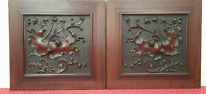 PAIR OF MAGNIFICENT LARGE ANTIQUE FRENCH CARVED WALNUT PANELS - C1880