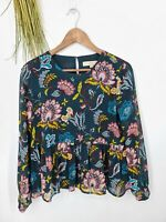 Ann Taylor Loft Blouse Small Petite Green Floral Peplum Long Sleeve Top
