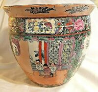 Chinese Asian Fish Bowl Garden Planter JARDINIERE Large Signed