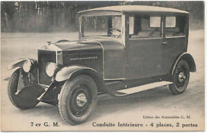 GM Parisienne Light Car (1924-28) Original Postcard 7CV 2 Door 4 Seats