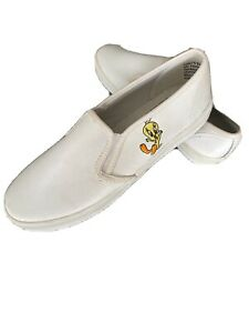 Looney Tunes 1999 Women's Tweety Bird Shoes Loafers 7 White Leather EUC