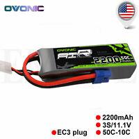 OVONIC 2200mAh 11.1V 50C 3S Lipo Battery EC3 Plug For RC Airplane Heil Drone FPV